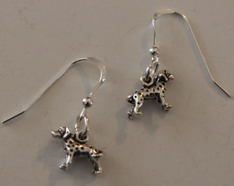 Sterling Silver 3d DALMATION DOG Earrings  - French Earwires -  Pet
