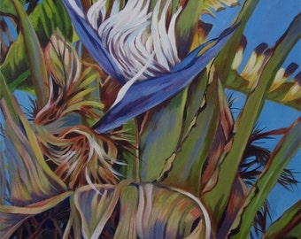 An original painting of  a  bird of paradise like flower in a banana tree with fanning leaves