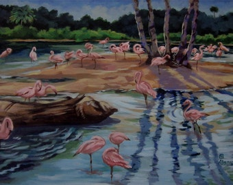 An original painting of flamingos in a water hole in Florida
