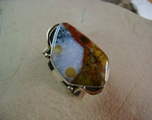 Exquisite Polka Dot Agate Cocktail Ring in Sterling and 14k - Size 8.75
