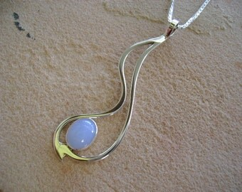 Blue Chalcedony and Sterling Silver Pendant