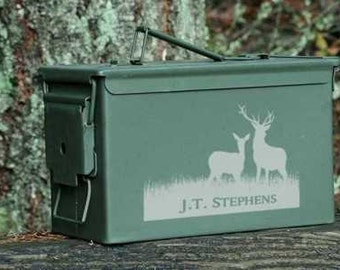 Personalized Ammo Can Twelve Designs Two Sizes-Custom Engraved Outdoor Sportsman and Hunters Gift~Birthday Gift~Boyfriend Gift~Father's Day