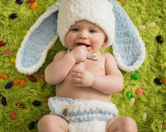 Baby Boy Bunny Hat, Baby Easter Hat, Baby Boy Hat, Crochet Rabbit Hat, White Bunny Hat, Floppy Bunny Hat, Baby Animal Hat, Newborn Boy Hat