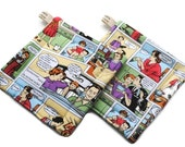 Quilted Pot Holders Set of 2 Dysfunctional Family Michael Miller