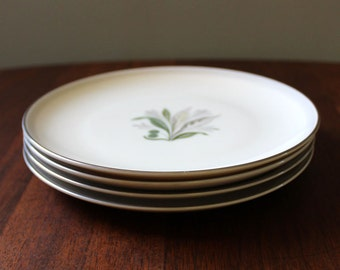 Shadow. 1960s mid-century modern bread and butter plates by Pickard China, set of four.