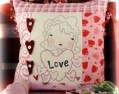 Valentine be mine embroidery Pattern pdf pillow- stitchery new girl doll vintage like heart wool fabric sew craft