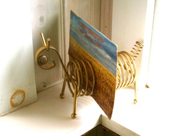 Vintage Brass Coil Letter and Pen Holder Mystery Animal