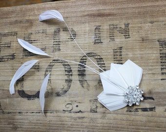 Ivory White, Feather Fascinator, Swarovski Crystal, Hair Accessory, Clip, Bridal, Bridesmaids, Batcakes Couture
