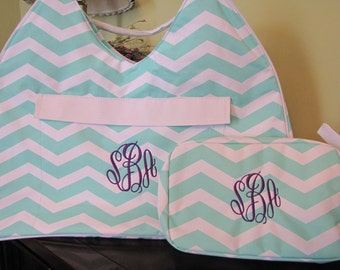 Monogrammed Extra Large Beach Tote and Matching Cosmetic Bag