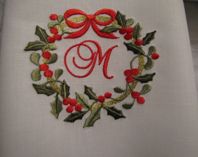 Set of TWO Monogrammed Christmas Wreath Linen Guest or Tea Towels