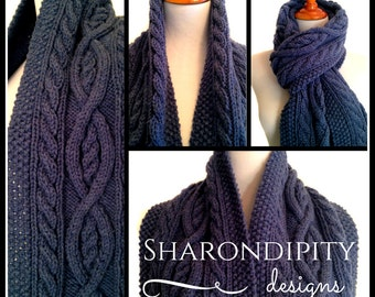 Cable Knit Scarf   Denim Blue   Traditional Irish Cable Knit  Winter Wrap   Womens Accessory   Vegan Knits