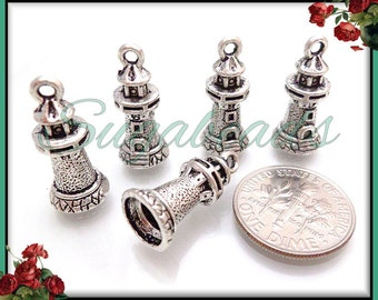 6 Antiqued Silver Lighthouse Charms 20mm PS69