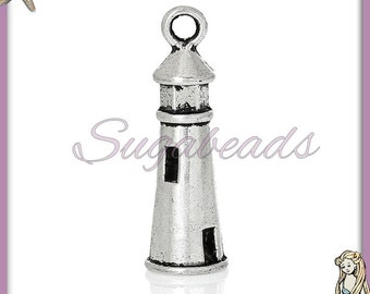 6 Silver Light House Charms, Lighthouse Charms, 25mm Lighthouse, Seaside Charms, Silver Sea Charms, PS71