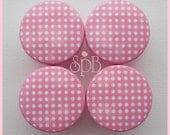 Kids Dresser Knobs - Polka Dot Knobs - Drawer Pulls - Pink Polka Dot -