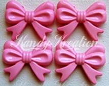 4 LIGHT PINK BOW shaped beads 46mm ribbon for kandi rave big chunky necklaces bracelet deco decodent raver kandy beading jewelry gum ball