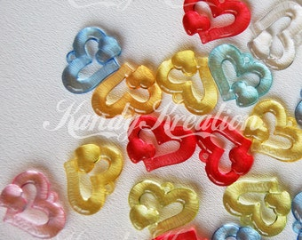 25 Double Heart Shaped Pendant Charms 34mm transparent for Pony Beads Kandi Rave Bubblegum Necklaces Decodent Deco Jewelry Valentine's Day