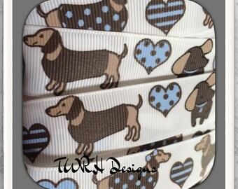 """Best Friends Weenie Dog * Dachshund  7/8"""" grosgrain ribbon By the yard- TWRH"""