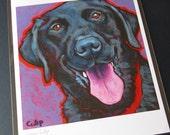 BLACK LAB Dog 8x10 Signed Art Print from Painting by Lynn Culp
