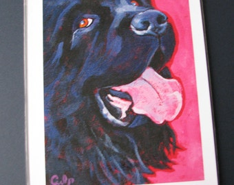 Black NEWFIE Dog 8x10 Signed Art Print from Painting by Lynn Culp