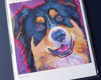 Tri-color AUSSIE Dog 8x10 Signed Art Print from Painting by Lynn Culp