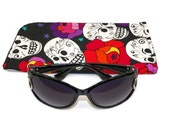 Slide in Sunglass Case or Eyeglass Case Skulls and Roses Black White Pink and Red  Choose Your Size