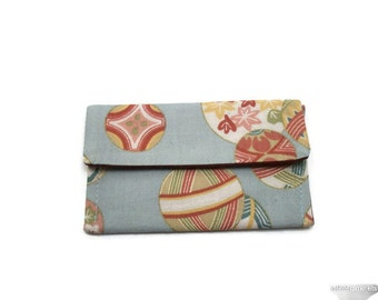 Japanese Tamari Ball Print on Pale Blue Business Credit Frequent Shopper Card Case