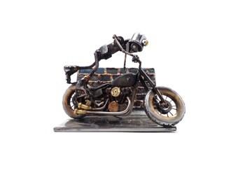 Still Kickin' Robot + Motorcycle sculpture