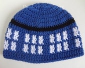 READY to SHIP Tardis Police Box Doctor Who Inspired S /M Adult or Teen Size Hand Crocheted