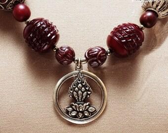 Nepali Jewel in the Lotus Pendant w/African Beads