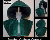 Arrow Green Micro Suede with Black Lining and Green Trim ARROW Hoodie Bolero Shrug by LoriAnn Costume Designs - Choose Size