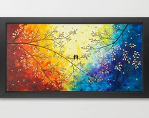 "Birds painting, Print, original art red yellow orange white green blue purple teal art wall art wall decor ""Over the Rainbow"" by QIQIGallery"