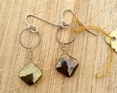 Faceted Pyrite Diamond Shaped Sterling Silver Link Earrings Sun God Meets Balance