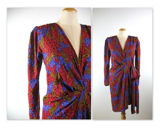 80s Yves Saint Laurent Silk Dress asymmetrical wrap style Rive Gauche