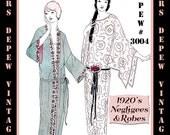 Vintage Sewing Pattern Instructions 1920's Flapper Basic Neglige Robes Ebook PDF Depew 3004 -INSTANT DOWNLOAD-