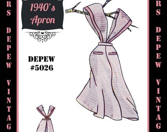 Vintage Sewing Pattern 1940's Apron in Any Size - PLUS Size Included - Depew 5026 -INSTANT DOWNLOAD-