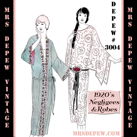 Vintage Sewing Pattern Instructions 1920's Flapper Basic Neglige Robes Ebook PDF Depew 3004 -INSTANT DOWNLOAD-