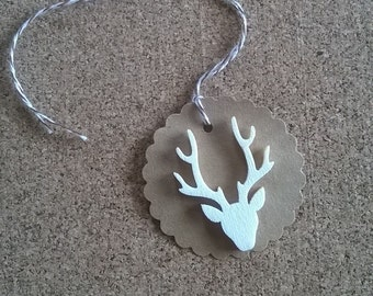 Round rustic stag holiday gift tags Christmas Scotland antlers