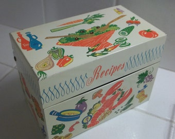 Vintage Ohio Art Co Tin Litho Recipe Box...Cool 60's Graphics...Mad Men Era
