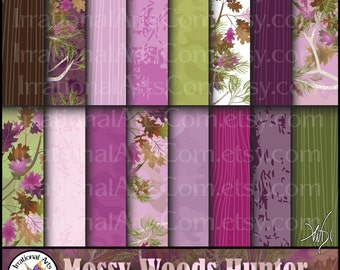Mossy Wood Hunter set 12 Pink - 16 jpg Digital scrapbooking papers - mossy oak trees, leaves, wood grains, camouflage {Instant Download}