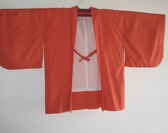 Orange Japanese Haori Kimono Coat Jacket