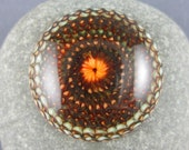"""Large lampwork glass cabochon, woodland colours, large art glass cabochon, large cabochon, """"Protea"""", 33mm / 1.29 inches across, GBUK, SRA"""