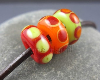 "Art glass lampwork beads, ""Three Little Beads"" set of 3 beads, FHFTeam Y3, GBUK, SRA"