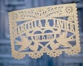 Custom 14 ft. Wedding Papel picado (10 flags per garland) 8.5 x 11 inch card stock - ready to hang Fiesta wedding Mexico bridal shower