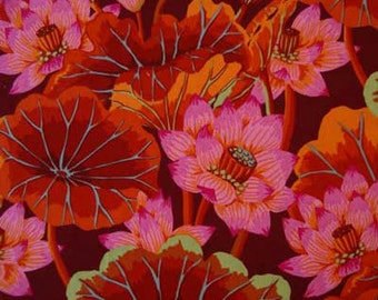 Kaffe Fassett LAKE BLOSSOMS Red Gp93 Quilt Fabric - by the Yard, Half Yard, or Fat Quarter FQ