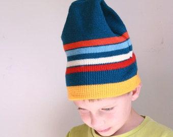 Vintage wool ski hat blue red yellow stripe Smiley
