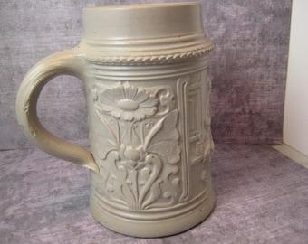 Beer Stein high relief stoneware ceramic mug Germany bier Nouveau pattern