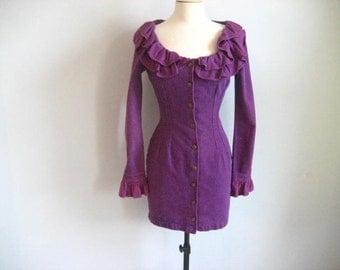 Vintage PARIS BLUES Purple Denim Long Sleeve Mini Dress- Size 5