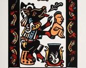 El que Protege el Camino Starry Wisdom Library original woodcut print limited edition 10 x 8