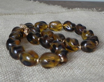 Vintage chunky necklace by Monet - classic faux tortoiseshell pattern brown and gold