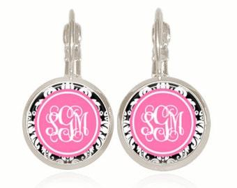 Monogram Earrings, Drop Style Earrings, Personalized Earrings, Sorority, Glass Earrings, Preppy Earrings, (Pink and Black)